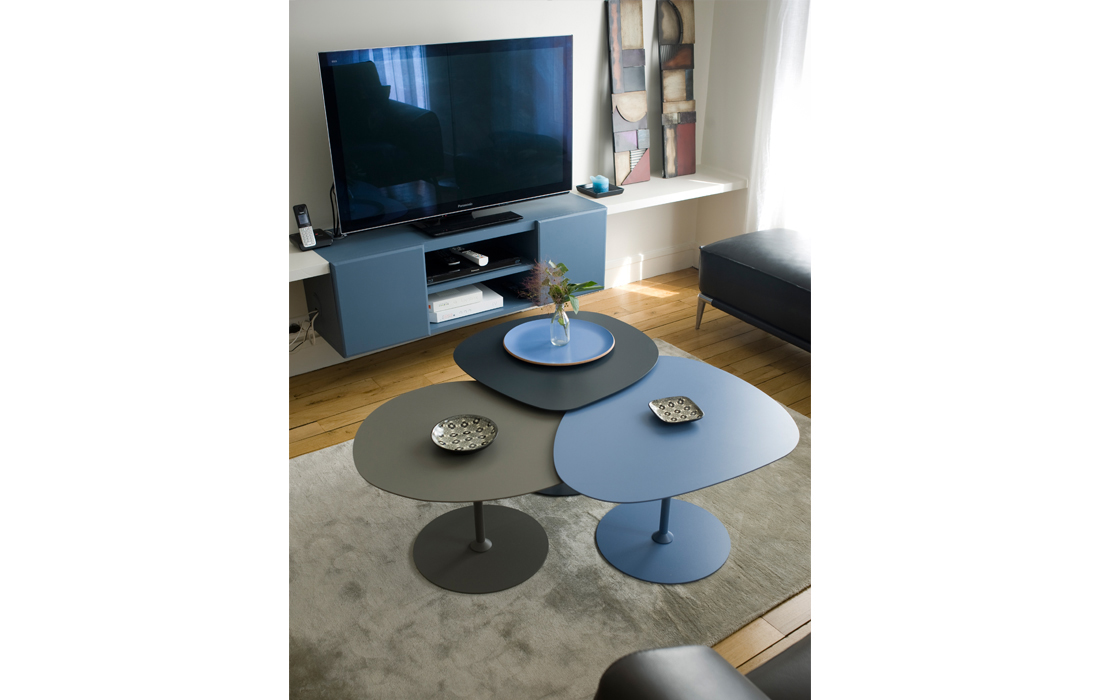 Coin tv appartement chic bleu