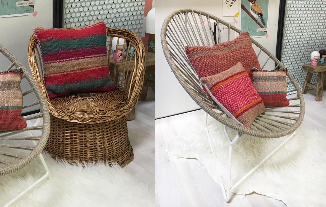 fauteuil rotin vintage, fauteuil tressé corde naturelle