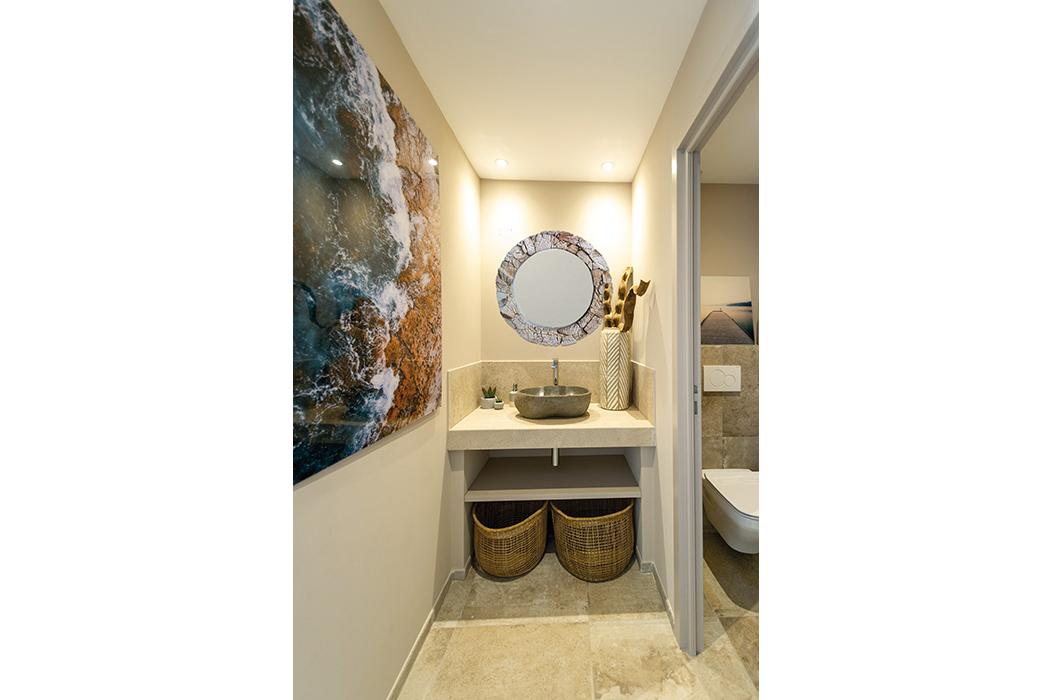 wc miroir bois vasque pierre