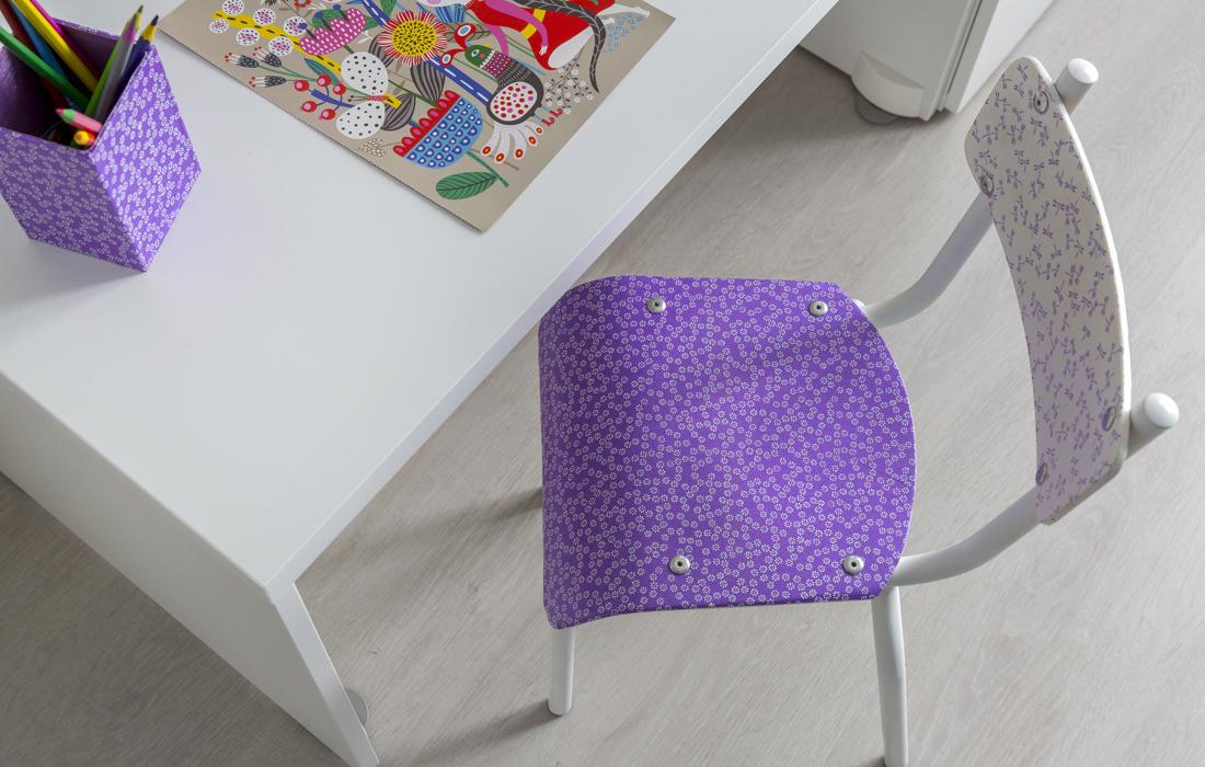 chambre bleue fille bureau chaise relookee – delphine guyart design