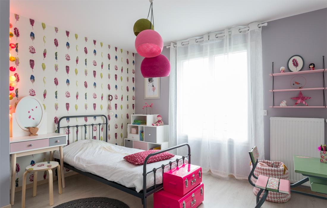 Chambre fille rose romantique