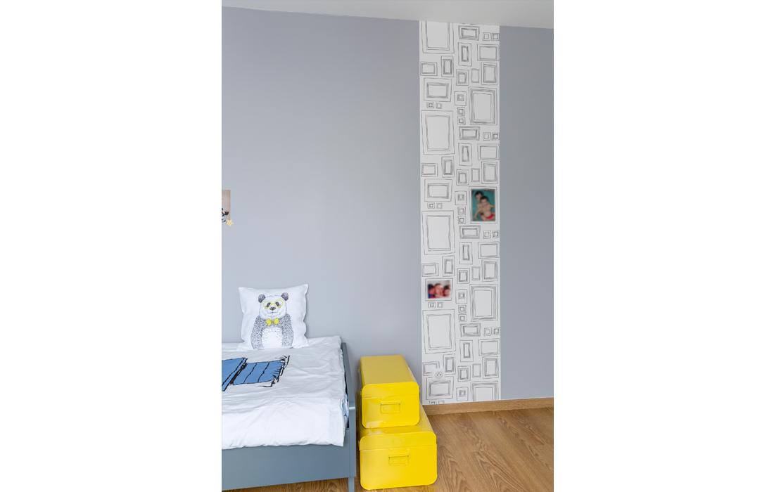 Chambre garçon bleu et jaune lé papier peint cadres