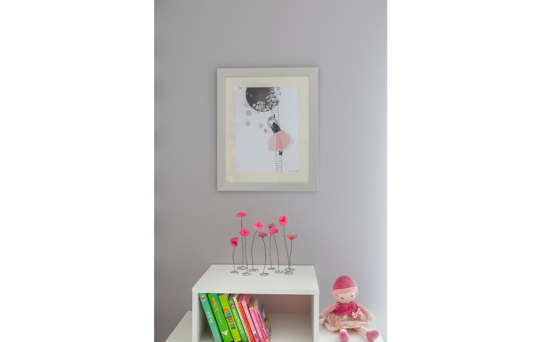 Détail décoration chambre rose fille illustration