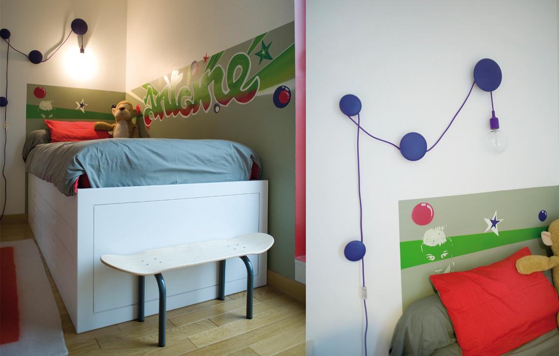 chambre garçon rouge et vert graffiti