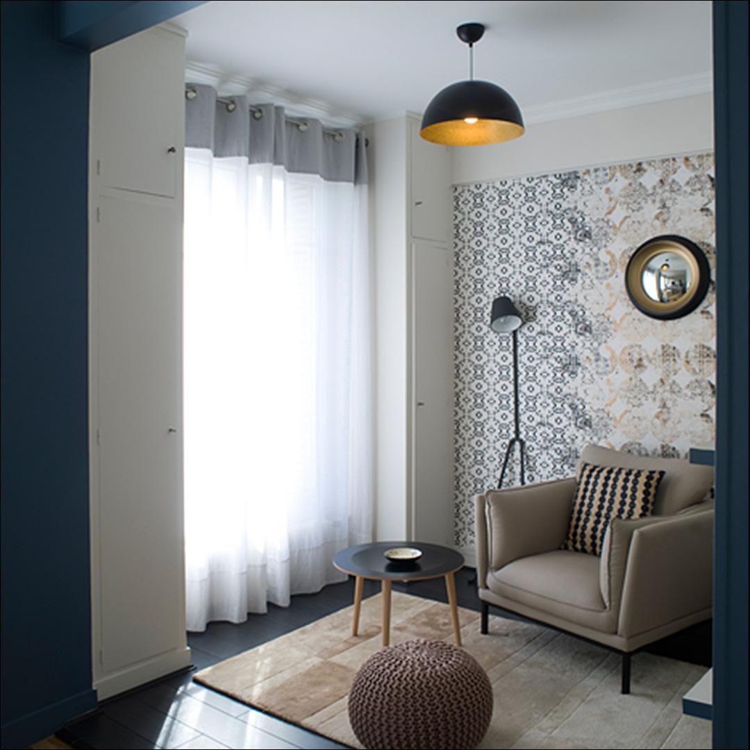 salon bleu et doré